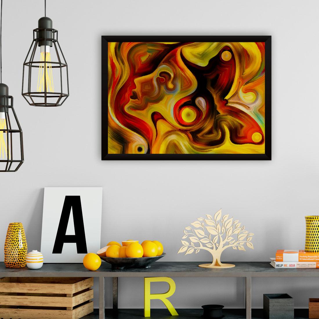 Quadro Decorativo Mulher e Borboleta Abstratos