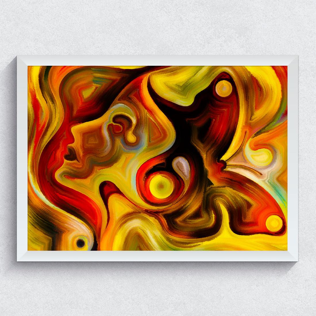 Quadro Decorativo Mulher e Borboleta Coloridos