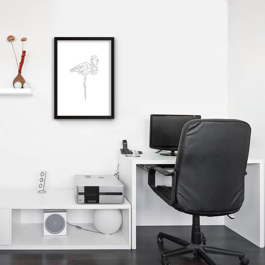 Quadro Decorativo Flamingo Linhas Finas Minimalista