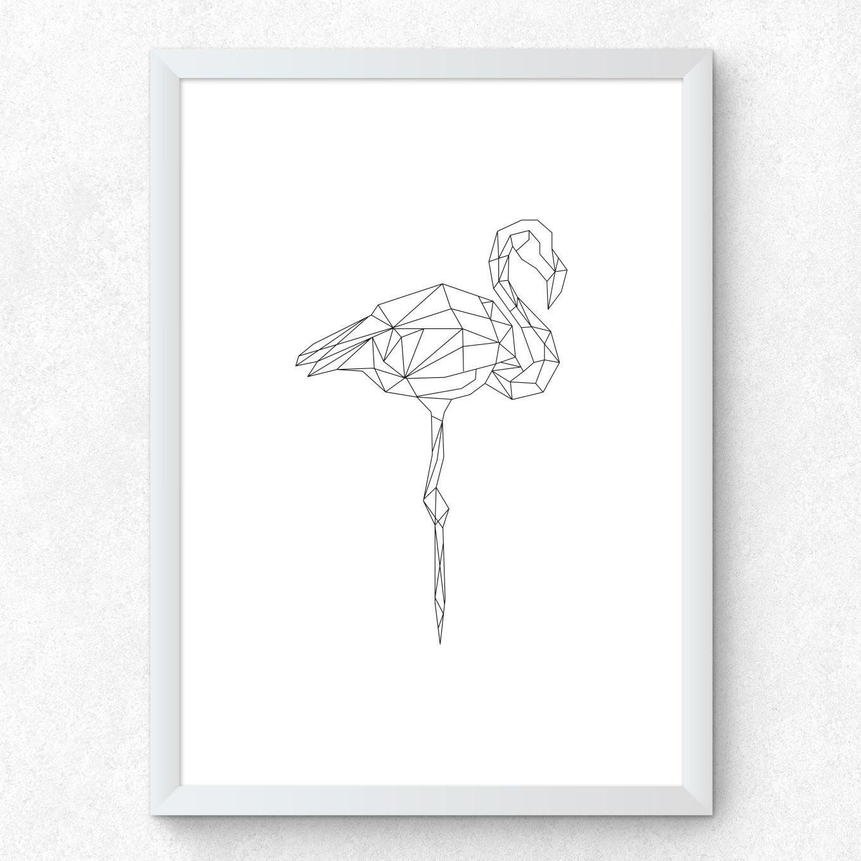 Quadro Decorativo Flamingo Traços Finos Minimalista