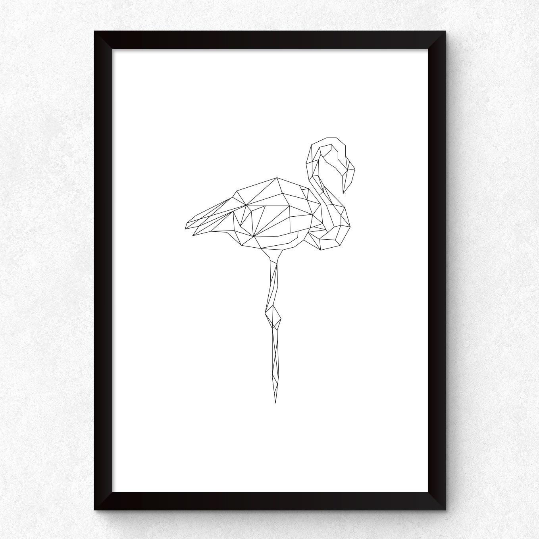 Quadro Decorativo Pássaro Flamingo Minimalista