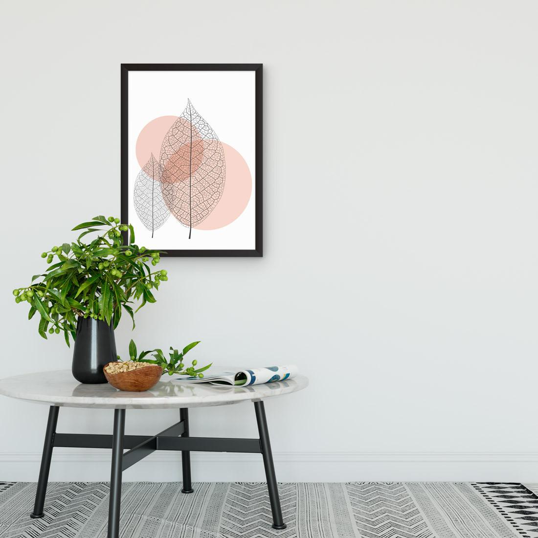 Quadro Decorativo Folhas Secas e bolas