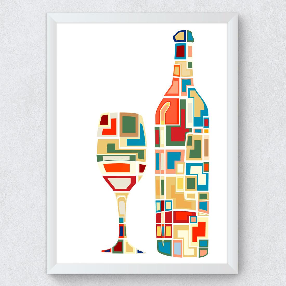 Quadro Decorativo Vinho Abstrato