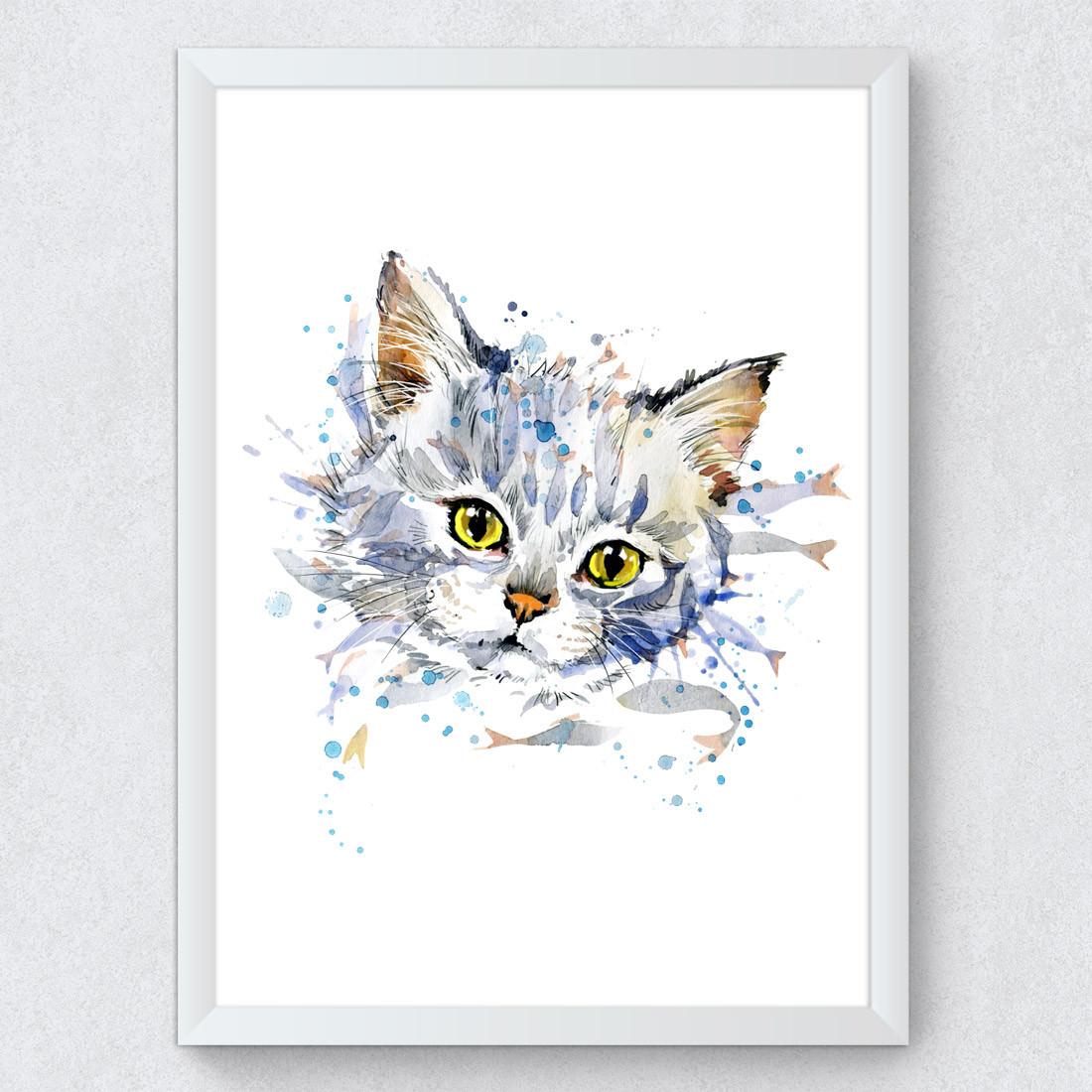 Quadro Decorativo Gatinho Branco Aquarela
