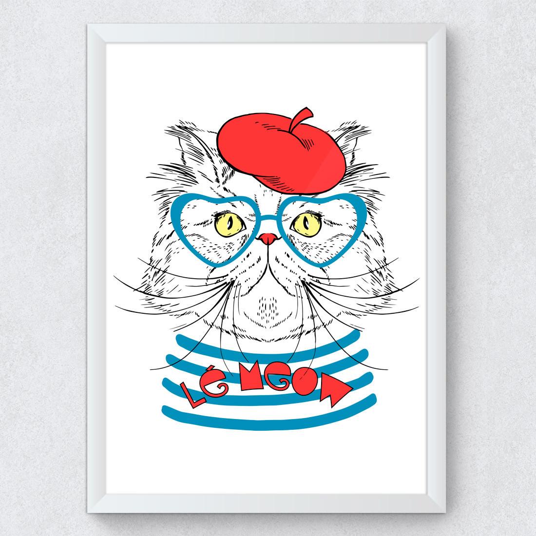 Quadro Decorativo Gato Francês Óculos Cat