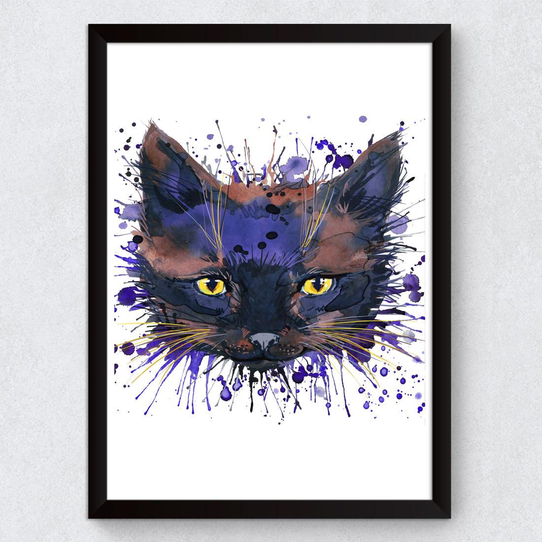 Quadro Decorativo Cat Preto Aquarela