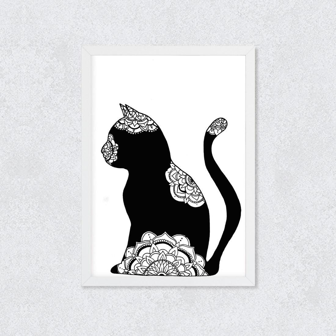 Quadro Decorativo Gato Preto Mandalas