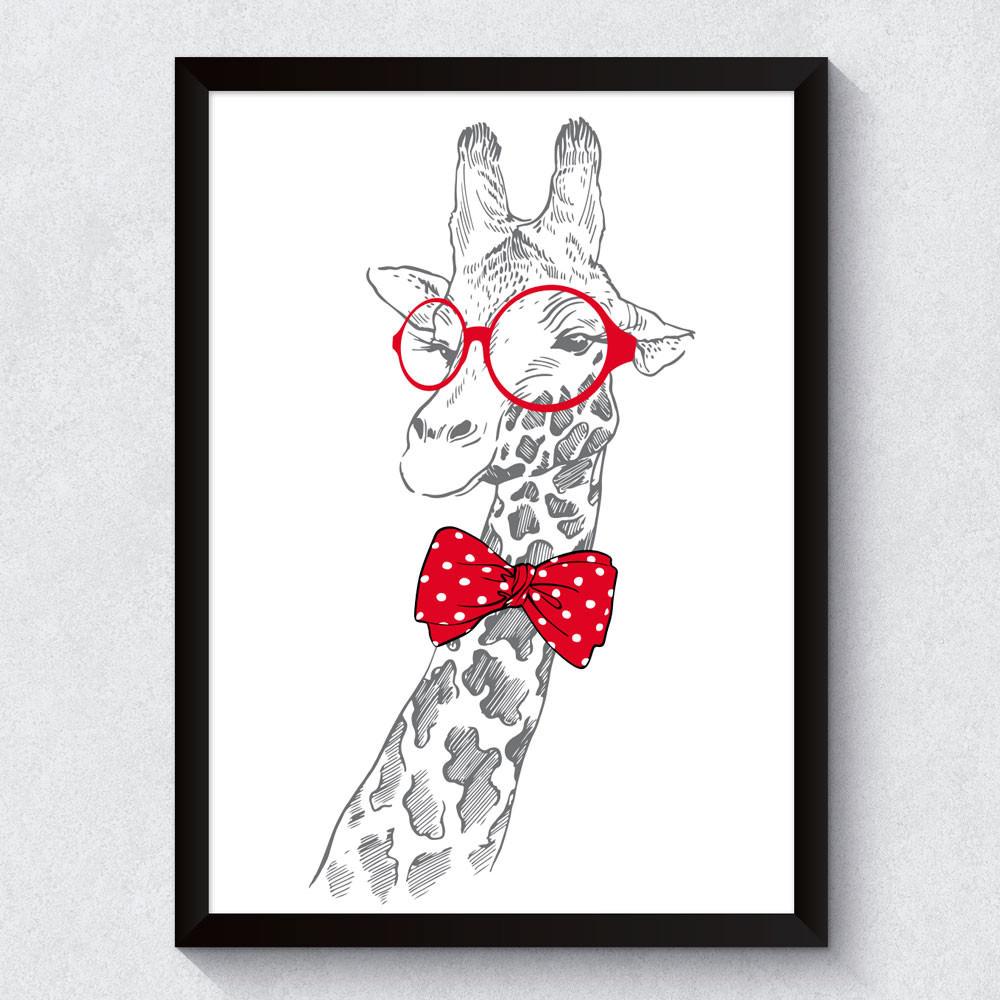 Quadro Decorativo Girafa de Óculos