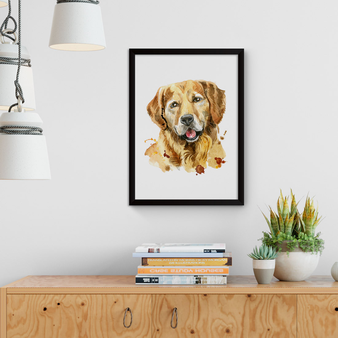 Quadro Decorativo Golden Retriever Aquarela