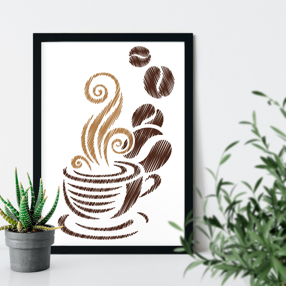 Quadro Decorativo Xícara e Grãos de Café