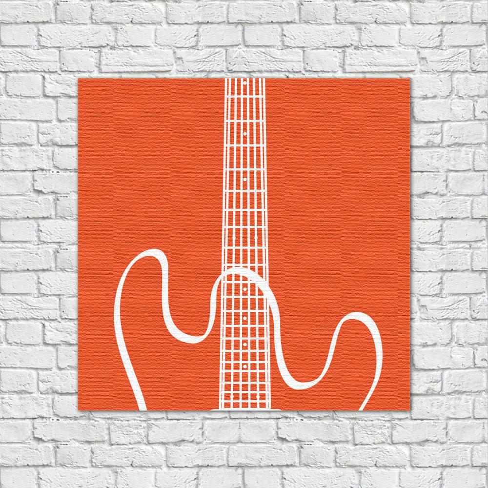 Quadro Decorativo Guitarra Laranja