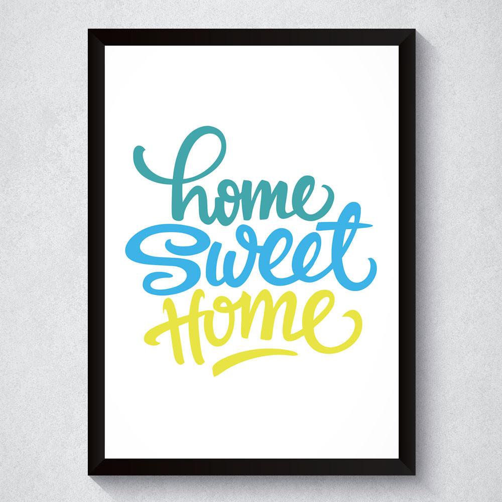 Quadro Decorativo Home Sweet Home Colorido