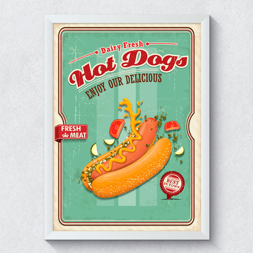 Quadro Decorativo Hot Dog Retro Vintage