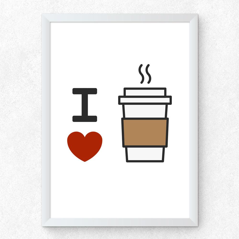 Quadro Decorativo I Love Coffe (Minimalista)