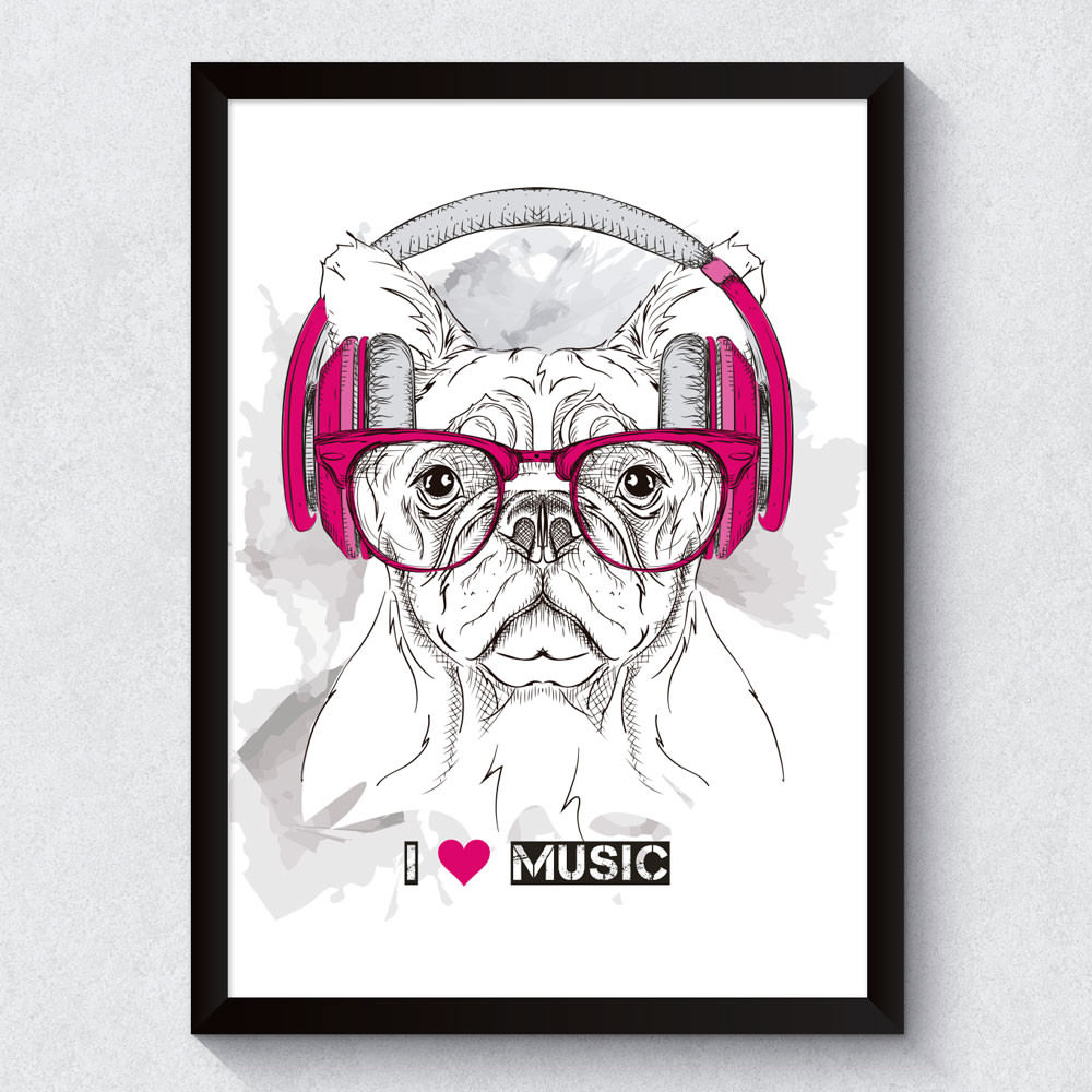Quadro Decorativo Dog I Love Music