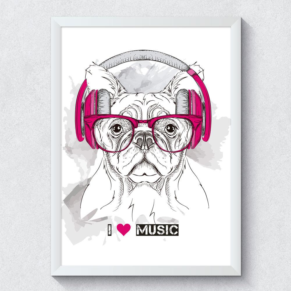 Quadro Decorativo Cachorro I Love Music