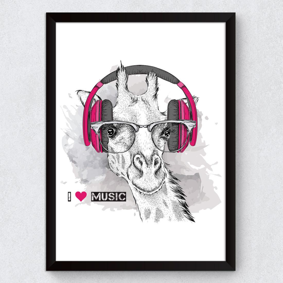 Quadro Decorativo Girafa Musica Fone