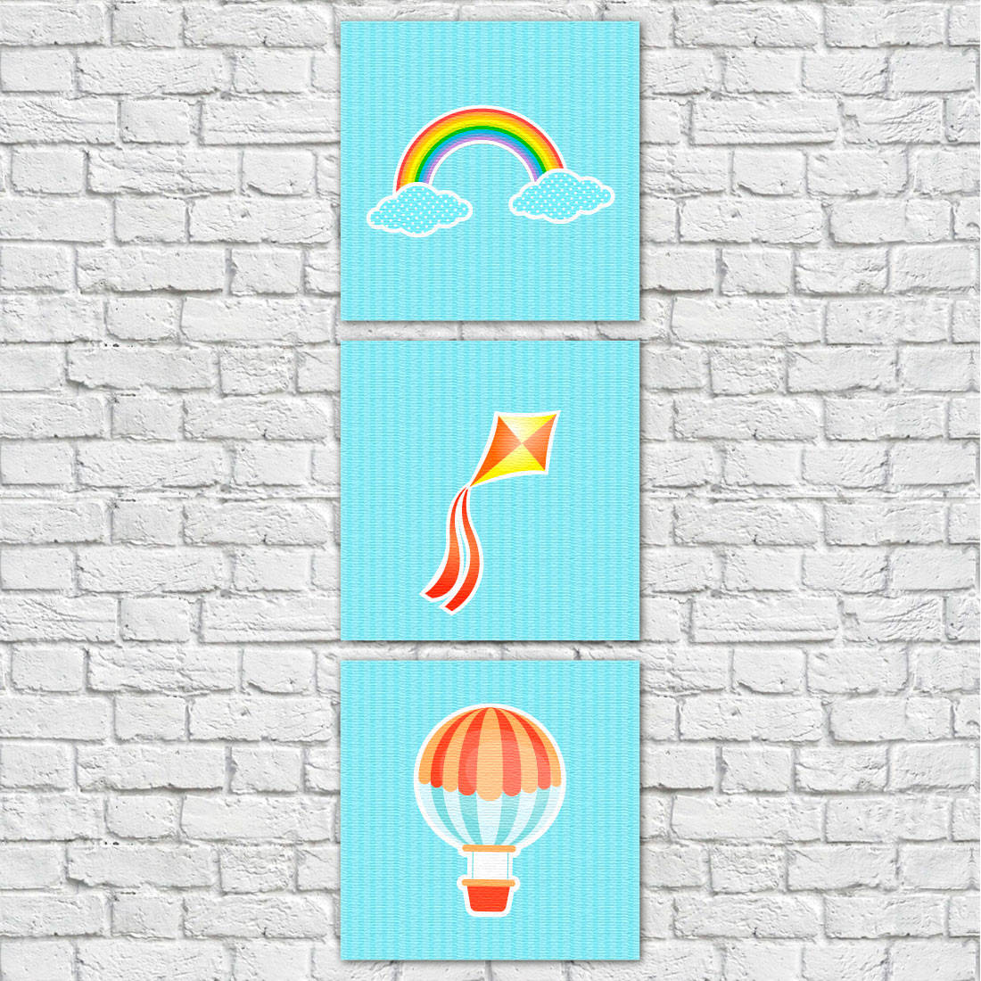 Conjunto de Quadros Decorativos Infantis Balão, Pipa e Arco-ìris