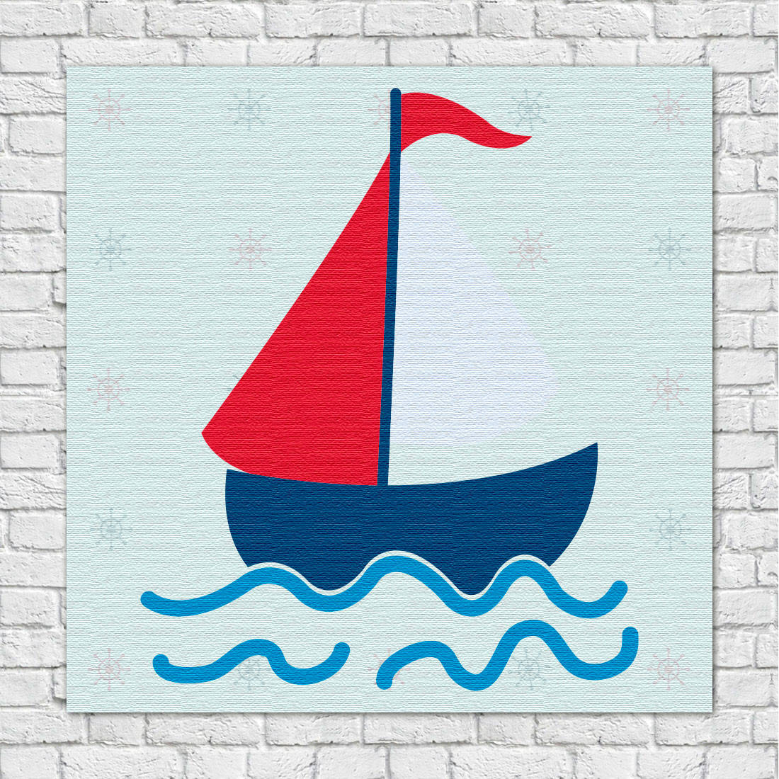 Quadro Decorativo Infantil Barco a Vela Marinheiro