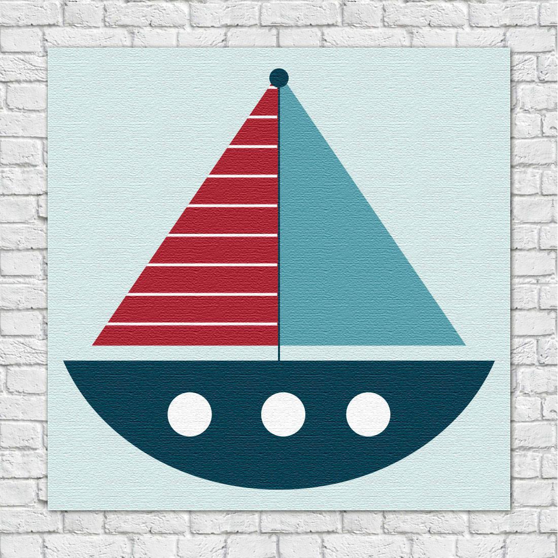 Quadro Decorativo Infantil Barco Marinheiro