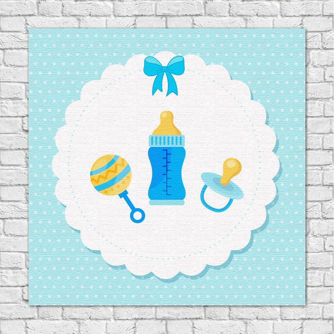 Quadro Decorativo Infantil Chocalho mamadeira e Chupeta