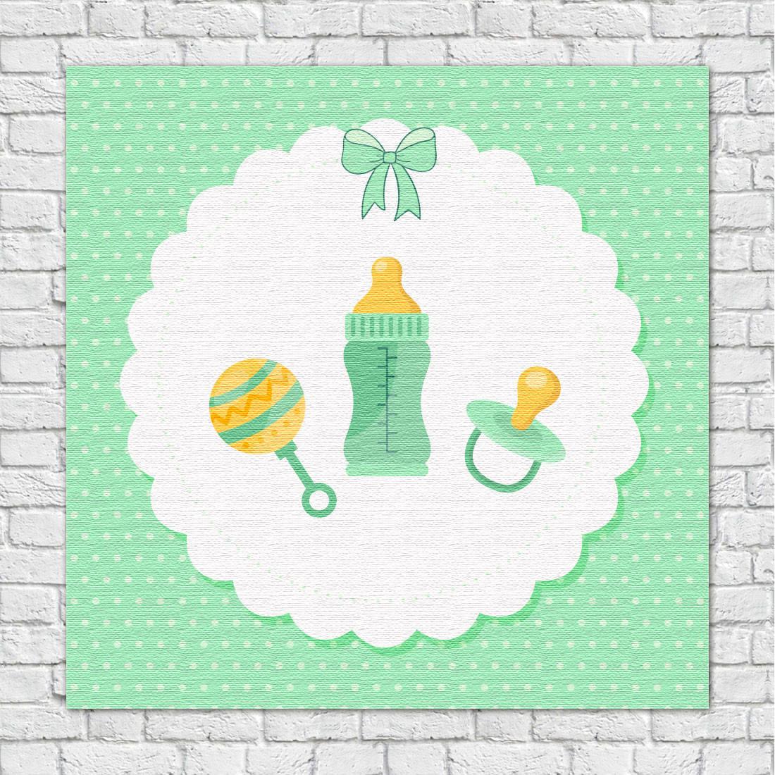 Quadro Decorativo Infantil Chocalho mamadeira e Chupeta Verde