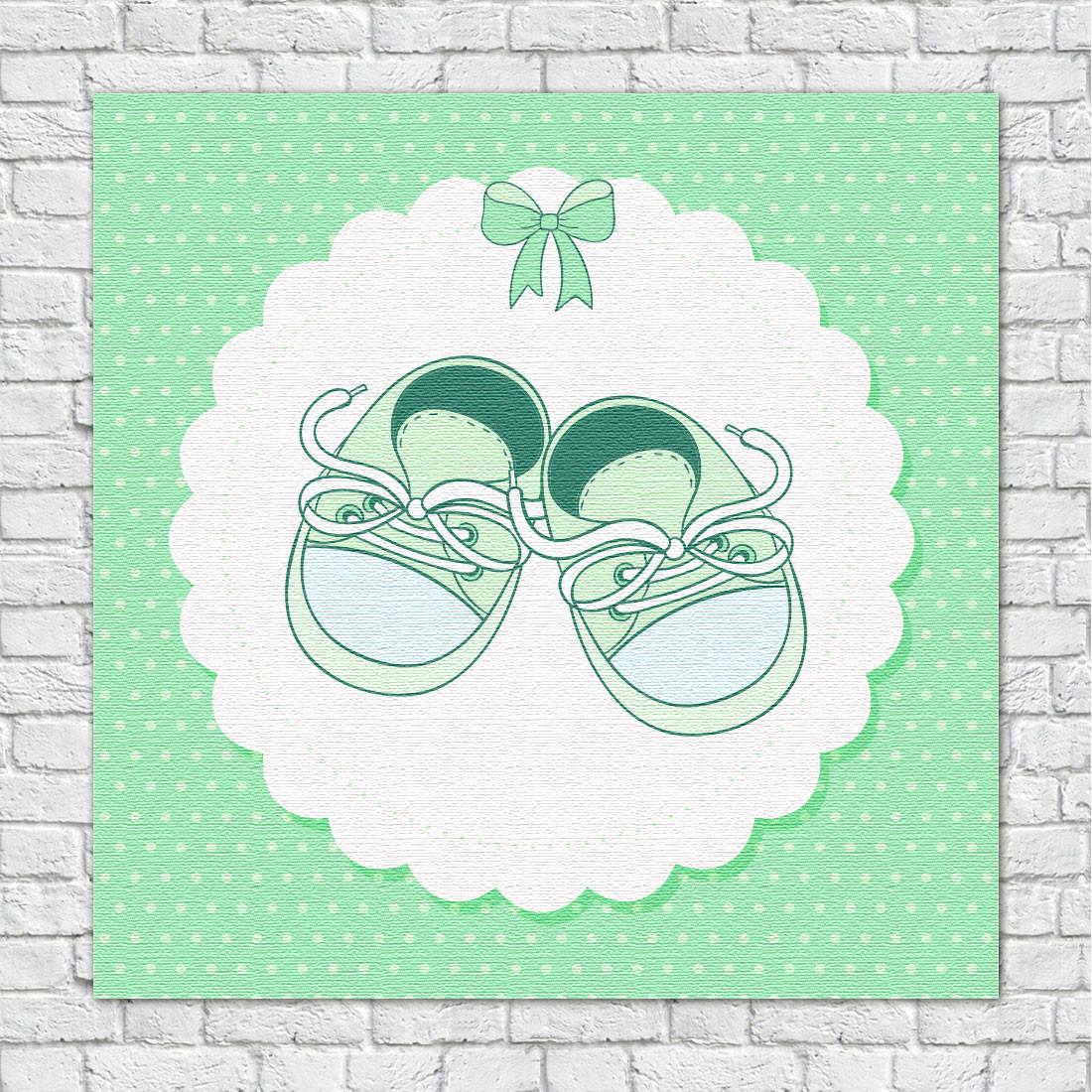 Quadro Decorativo Infantil Sapatinho Verde