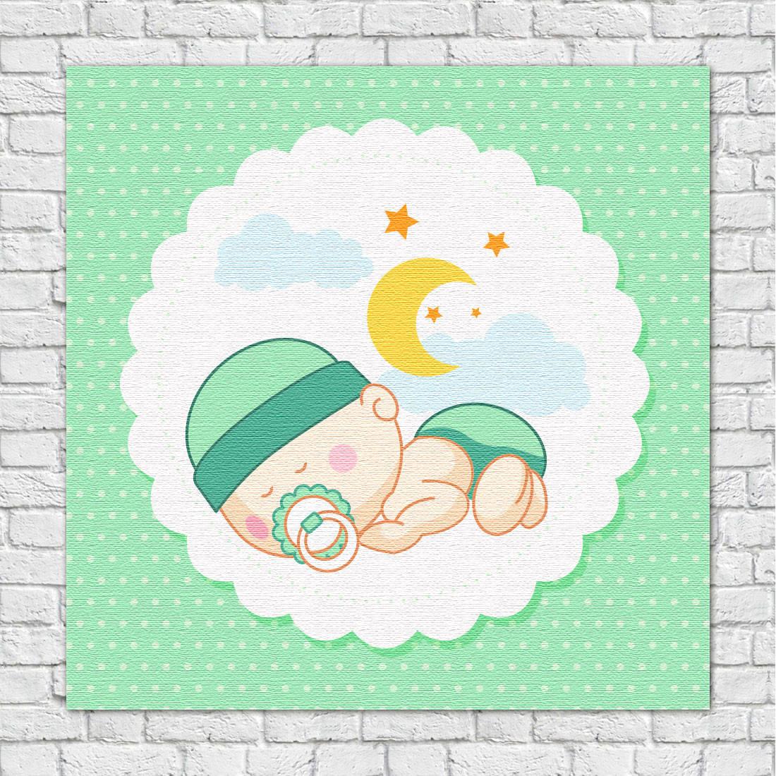 Quadro Decorativo Infantil Bebê dorminhoco Verde