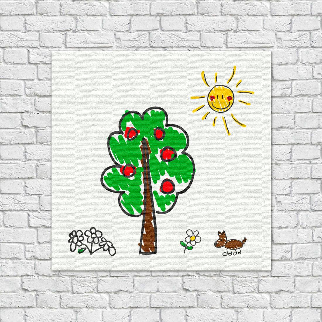 Quadro decorativo Infantil Desenho de Crianças Árvore