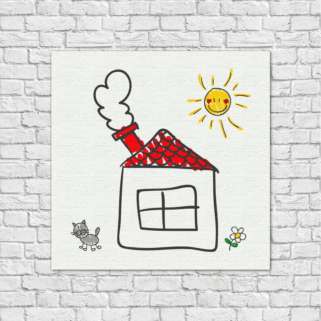 Quadro Decorativo Infantil Desenho de Crianças Casa