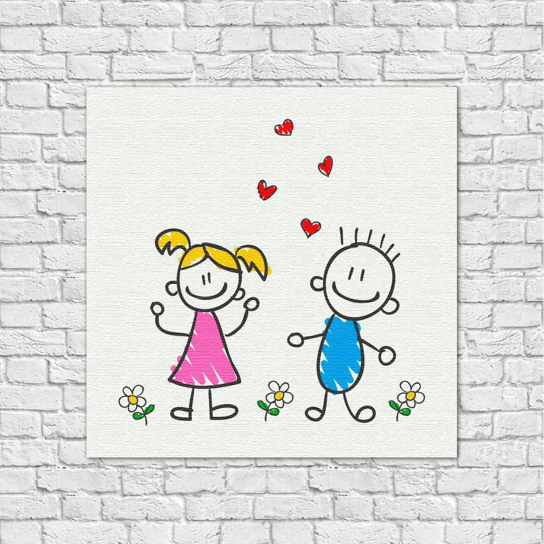 Quadro Decorativo Infantil Desenho de Crianças Menino Menina