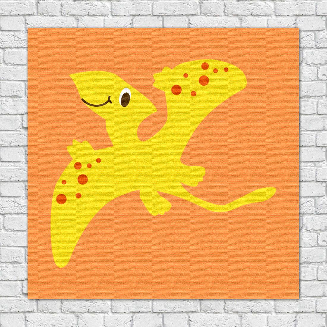 Quadro Decorativo Infantil Dinossauros Amarelo