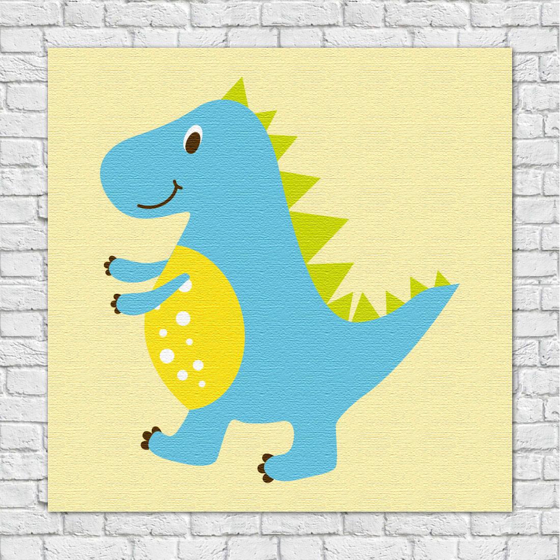 Quadro Decorativo Infantil Dinossauros Rex Azul