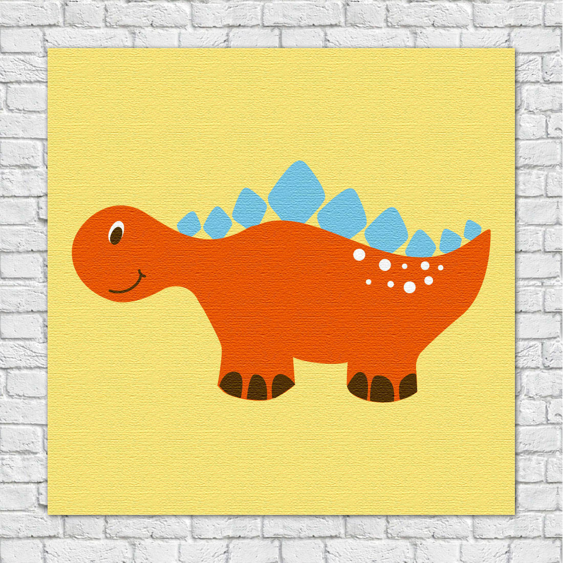 Quadro Decorativo Infantil Dinossauros Laranja