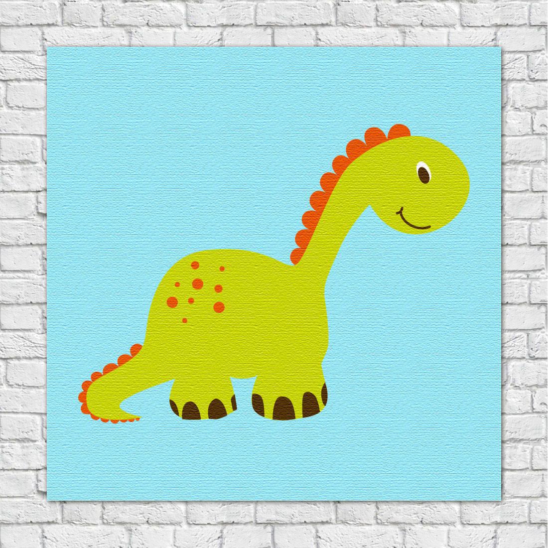 Quadro Decorativo Infantil Dinossauros Verde