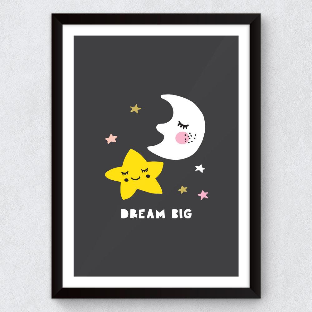 Quadro Decorativo Infantil Dream Big (Lua e Estrelas)