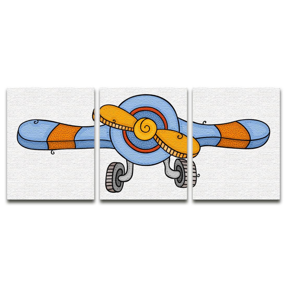 Conjunto de Quadros Decorativos Infantil Aviãozinho - Em Canvas