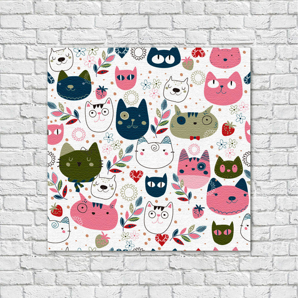 Quadro Decorativo Infantil Estampa Gatos