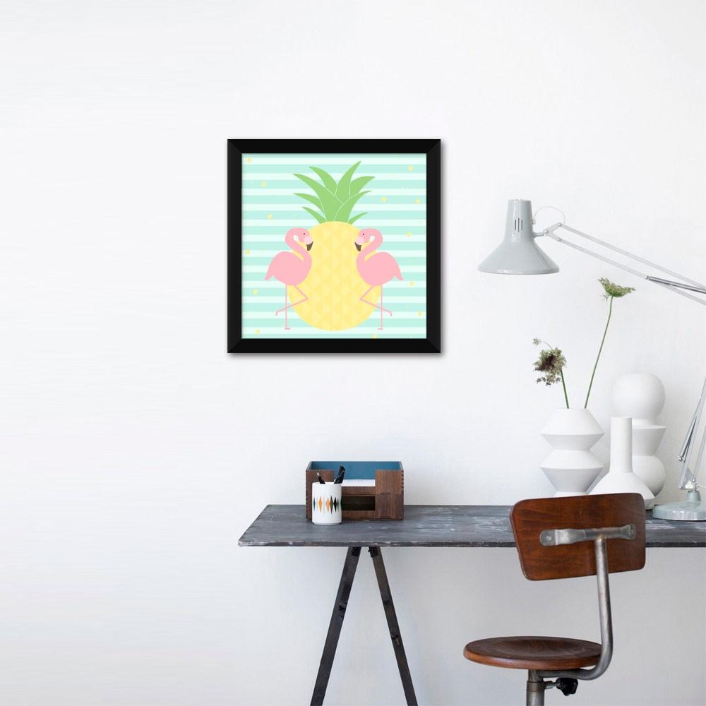 Quadrinho Decorativo Abacaxi e Flamingos com Listras