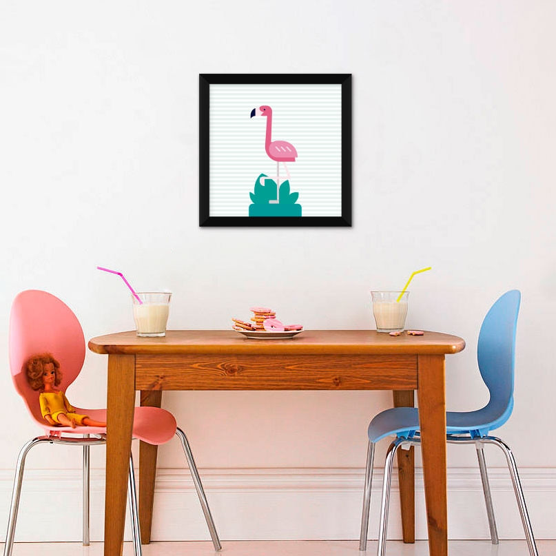Quadrinho Decorativo Infantil Flamingo com Listras