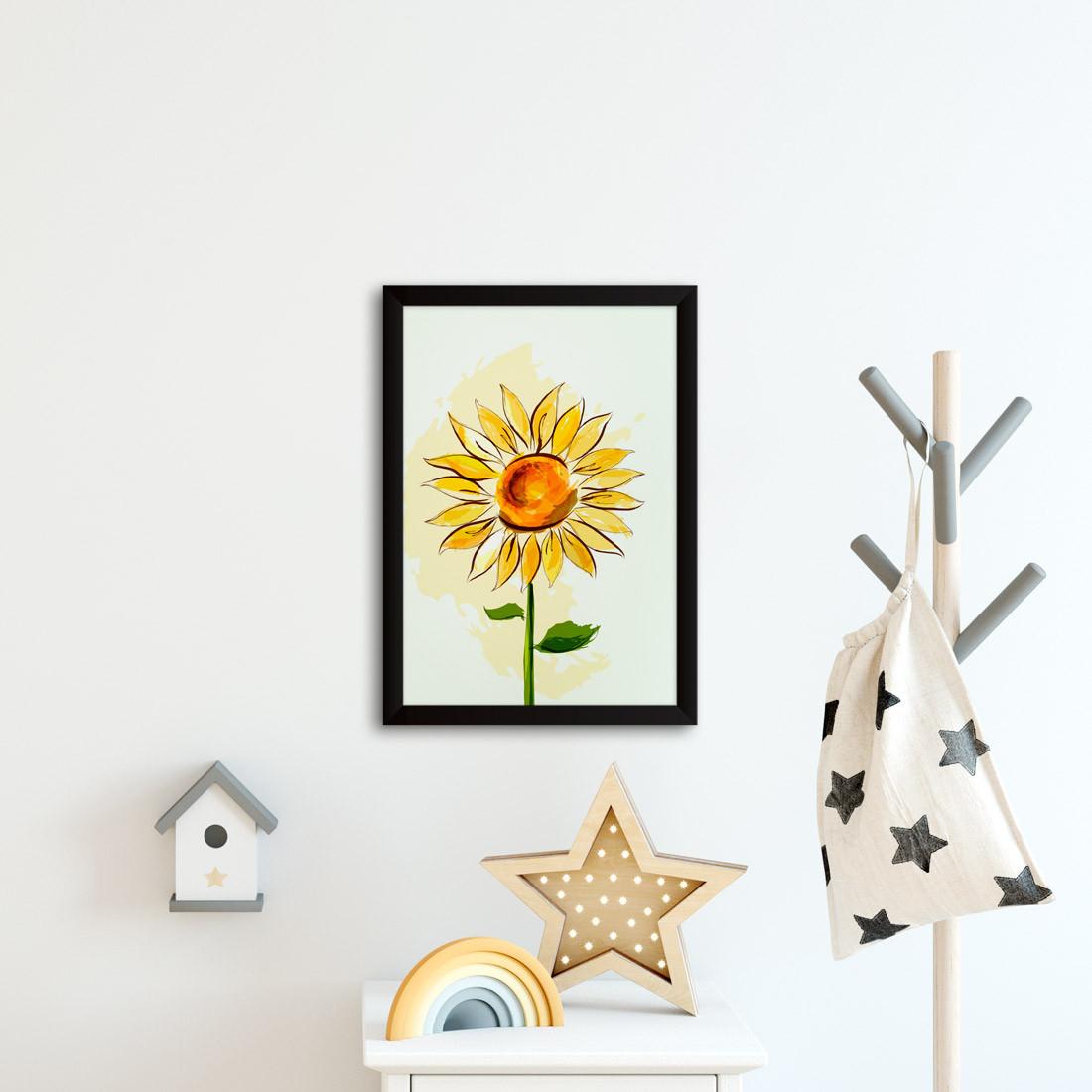 Quadro Decorativo Desenho Girassol
