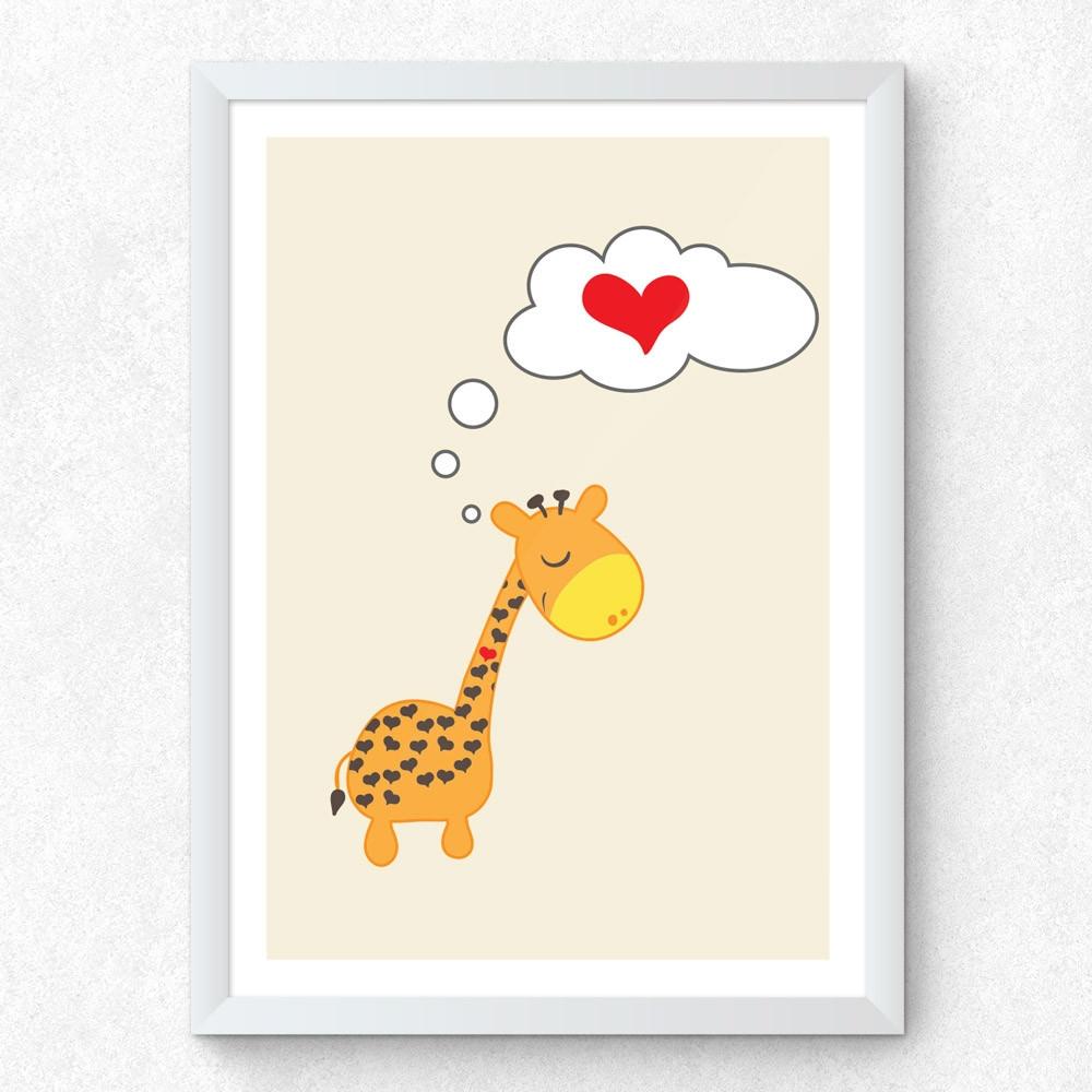Quadro Decorativo Infantil Girafa