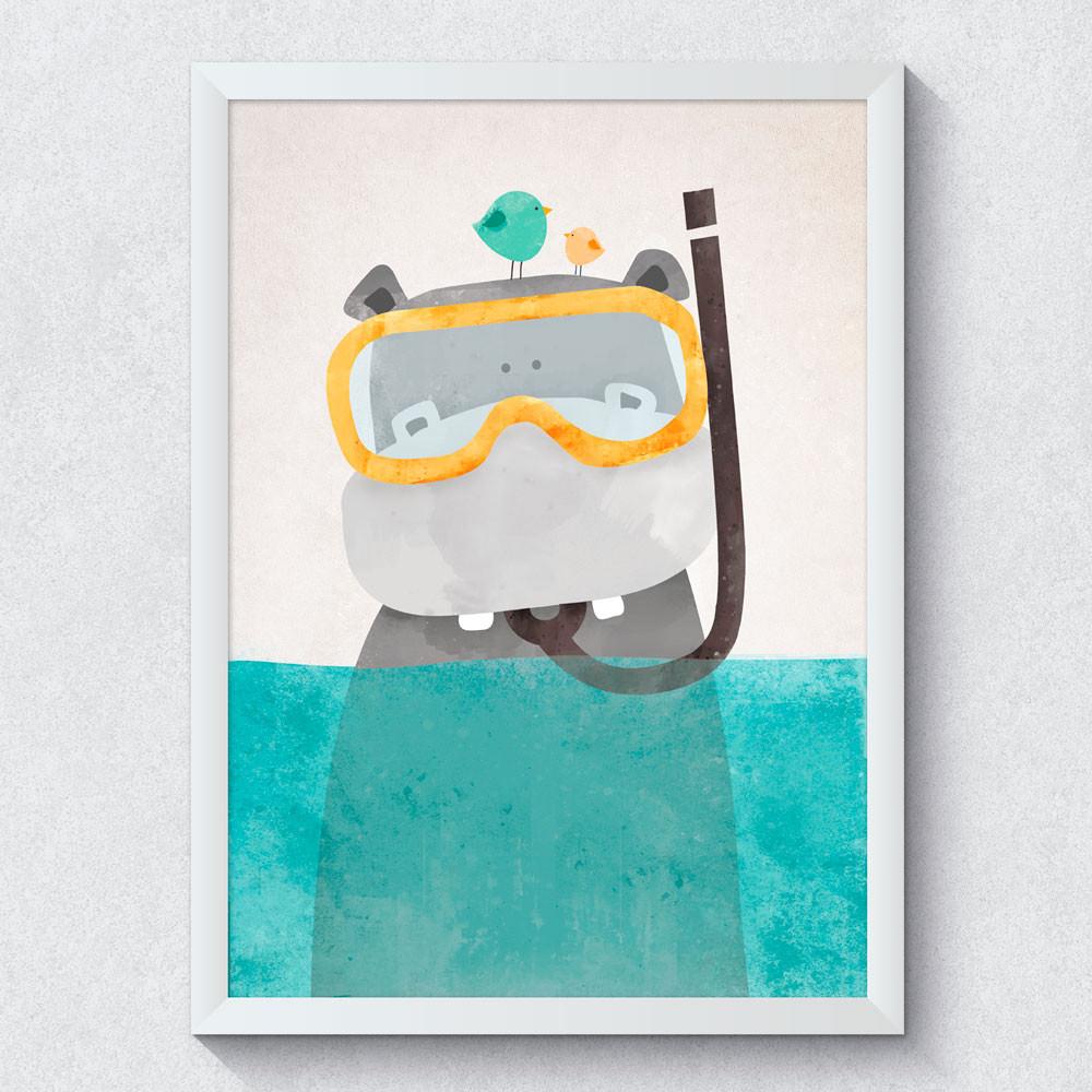 Quadro Decorativo Infantil Hipopótamo
