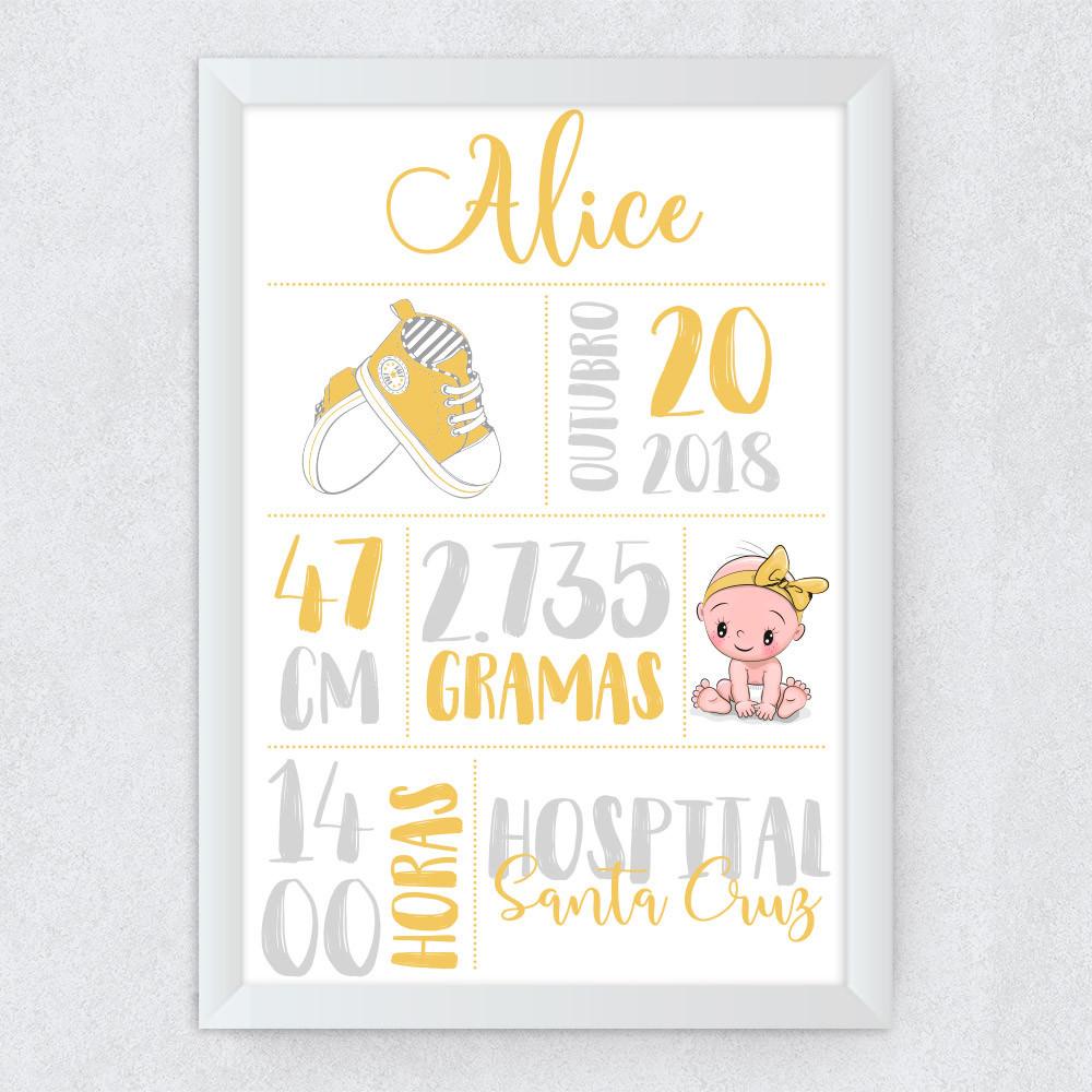 Quadro Decorativo Infantil Nascimento Amarelo