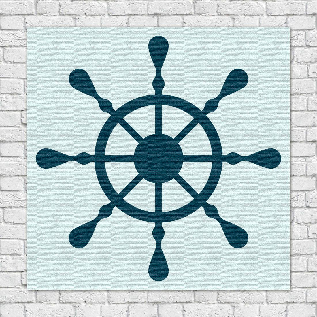 Quadro Decorativo Infantil Marinheiro Leme Azul
