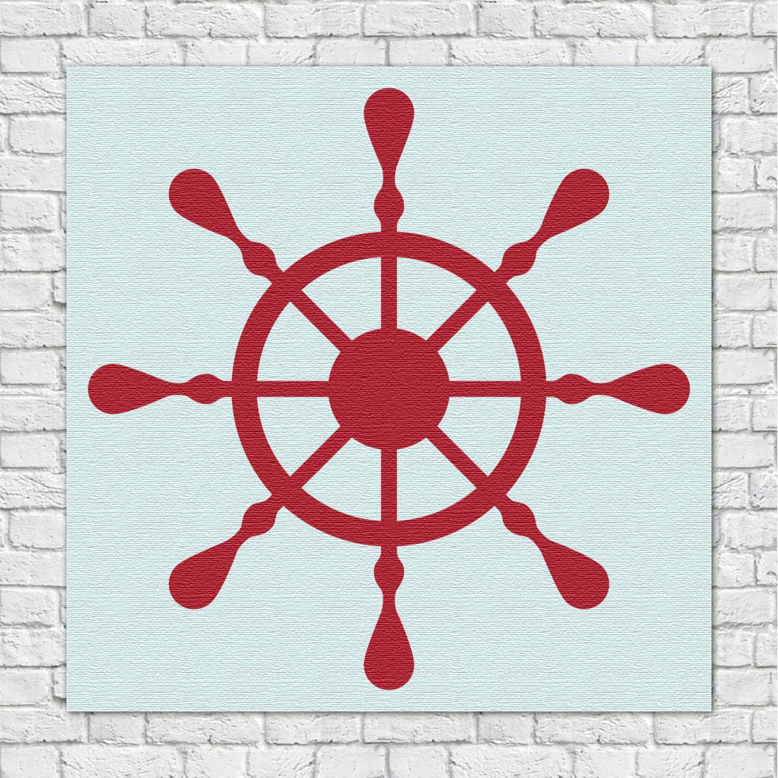 Quadro Decorativo Infantil Marinheiro Leme Vermelho