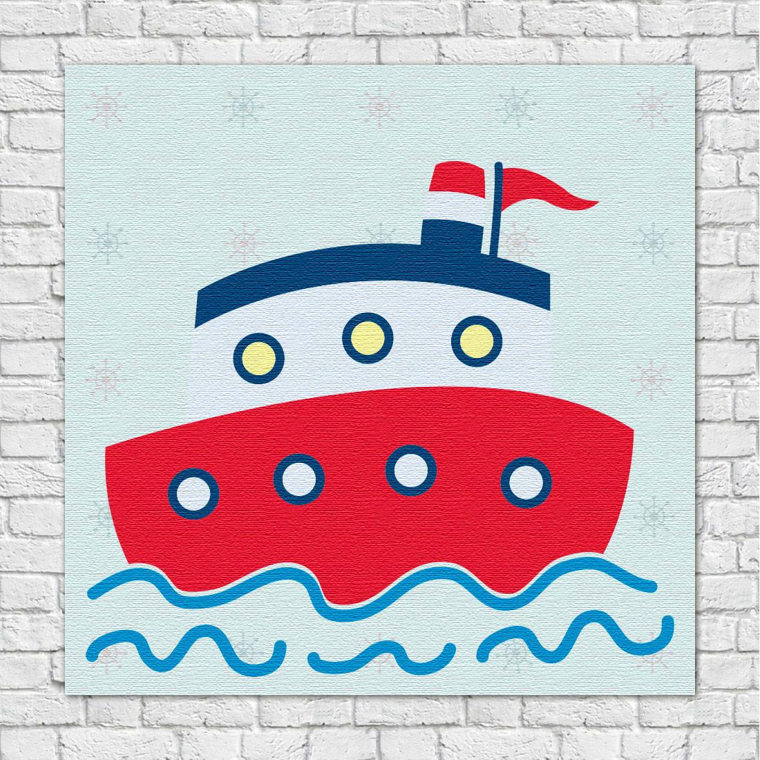Quadro Decorativo Infantil Navio Marinheiro