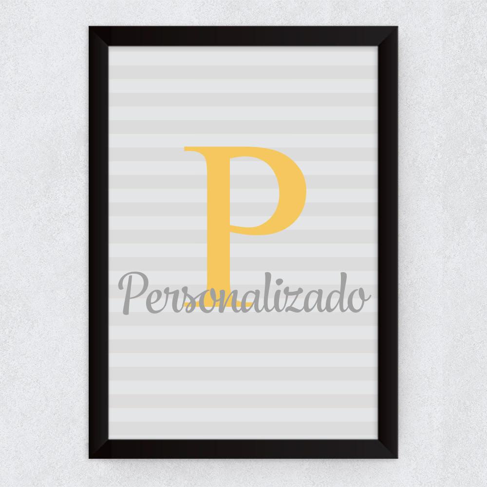 Quadro Decorativo Infantil Nome Personalizado Inicial Amarelo