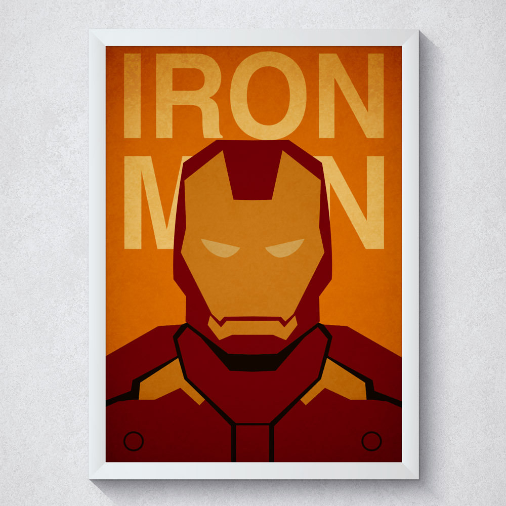 Quadro Decorativo Iron Man Com Moldura Branca
