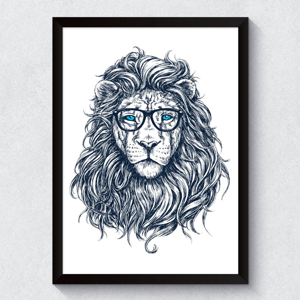 Quadro Decorativo Leão Nerd